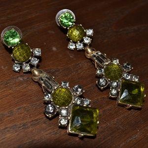Vintage J Crew Rhinestone Drop Earrings